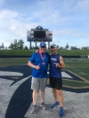 Jasen Sokol and Akron Marathon Race Director Brian Polen after completing the National Interstate 8K course