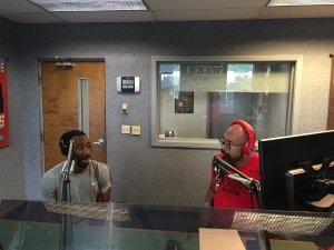 Dru Joyce III (left) and Aaron Coleman (right) talking basketball on WAKR